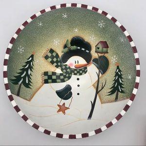 Bed, Bath and Beyond Christmas Snowman Wood Bowl